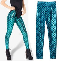 Cheap New 2015 Spring And Autumn Fashion Women Print Fish Scale Faux Leather Bottoming Nightclub Leggings Nine Pants, Blue, Size Free
