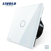 Wholesale Livolo EU Standard VL C701B Door Bell Wall Switch Crystal Glass Switch Panel V Touch Screen Wall Door Bell Switch