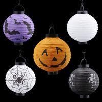 Wholesale Halloween Paper Lanterns cm Round paper LED Lanterns Lamps Festival Wedding Decoration Chinese Paper Lanterns