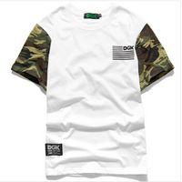 Cheap New Arrival Brand DGK Skateboard T Shirt Mens Camo Sleeve Hip Hop Casual T-Shirts Baseball Tshirts Camisa Masculina Swag Clothes