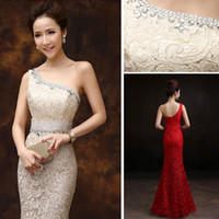 long dresses - 2015 new formal evening dresses mermaid fishtail one shoulder lace sexy slim dinner party prom long dresses elegant champagne blue red