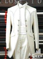 Gros-Nouvelle arrivée Coat + pantalon + chemise + ventre ceinture + cravate 5 jeux Livraison gratuite 2015 fashion costumes blancs pour les robes des hommes du parti des hommes de mariage
