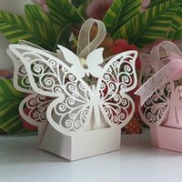 baby shower gifts - 2015 New Wedding Favors laser cut Butterfly Hollow Paper Candy Boxes Gift Bags DIY Baby Shower Boxes For Wedding Party Decorations Supplies
