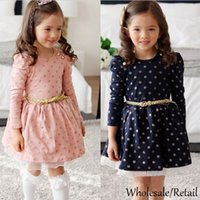 Wholesale 2015 New Kids Baby Girls Long Sleeve Dress Dots Polka Casual Children Clothing Mesh patch Pleated Dress Kids Blue Pink Dress Belt SV010782