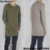 base tee - USA size Extra long sleeve olive green and Khaki Thumbhole oversized base layer extended tee Elongated longline shirt S XXL
