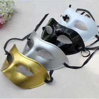 al por mayor plata veneciano-Hombres de la máscara Máscaras venecianas del vestido de lujo de la mascarada plástica media mascarilla opcional multi-colores (Negro, Blanco, Oro, Plata)