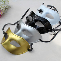 venda por atacado black dresses-Masquerade dos homens máscara máscaras Fancy Dress disfarce Venetian Máscaras plástico metade do rosto Máscara opcional multi-cores (preto, branco, ouro, prata)