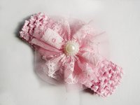 baby flowers delivery - Free delivery Infant Flower Pearl Headbands Girl Lace Headwear Kids Baby Photography Props NewBorn Bow Hair Accessories Baby Hair bands