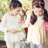 Wholesale 2015 New spring baby girls white t shirts kids cotton brief tees children casual long sleeves o neck clothes roupas meninos