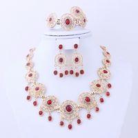 4pcs Promotion Cheap Dubai Afrique Rouge Noir Bleu Indien 18K Plaqué Or Ensemble Collier Bijoux Mariage Mariage Ensemble De Bijoux