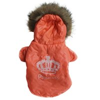 free shipping dog clothes - 2014 winter clothes for dogs Crown orange wool Hooded jacket winter dog clothes for Teddy pet clothes Dog Apparel