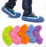 Wholesale Multifunctional chenille shoes covers clean slippers lazy drag shoe mop caps