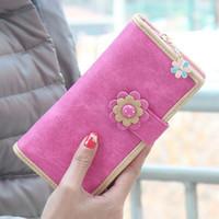 Wholesale Women Wallets Matte Leather Flower Lady Handbags Hasp Zipper Long Clutch Coin Purse Cards Holder Girls Wallet Burse Money Bags