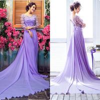 purple wedding dress - A Line Appliques Beads Chiffon Sheer Lace Purple Wedding Dresses Long Sleeves Sexy Illusion Colorful Wedding Dresses PW004