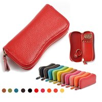 Wholesale Brand New Mini Key Wallets Candy Colors Real Genuine Cow Leather Car Key Holder Unisex Key Wallets Clutch Coin Purse Key Bags
