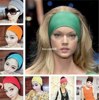 hair turban - 10 New Fashion inch Women Colored Wide Yoga Headband Stretch Hairband Elastic Hair Bands Turban