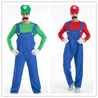 Wholesale World famous superstar Mario luigi and his twin brother Halloween role playing Plumbers overalls cosplay dress