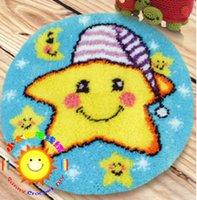 Wholesale DIY Mat Needlework Kit Unfinished Crocheting Rug Yarn Cushion Embroidery Carpet Cartoon Star