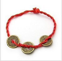 copper coins - china wholesales Red hand rope series baby children s jewelry Three copper coin