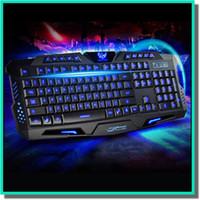 Wholesale Gaming Keyboard keys led Backlight keys Anti ghost USB multi media Laser Lettersteclado mecanico Mechanical Keyboard Dota LOL