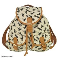 Wholesale EAST KNITTING QQ1712 Hot Style Women Backpack D Horse Printed Women s Travel Bags Drop Shipping