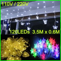 led christmas icicle lights - Xmas Lights LED Curtain icicle lights LED M M LED String Christmas Lights Star Decoration Heart Lights warm white RGB