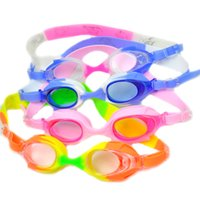 Wholesale Boys Girls Swimming Goggles Antifog Waterproof UV Shield Child Kids Swim Glasses Diving Eyewear Cartoon Contrast Colors Silicon Gel Goggles