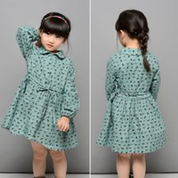 horse doll - new girls dress Korean leisure style little horse printing kids dresses cotton long sleeve with cute Doll brought children clothing ab139