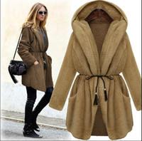 belted cashmere cardigan - European Fashion Winter Hooded Long Sleeved loose cardigan coat Bow Belt Cardigan Shawl Wool Coat Female thickening long coat