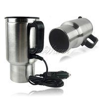 Wholesale 12V ml Travel Thermos Stainless Steel Silver Car Mug Cup Electric Heated Auto Coffee Tea