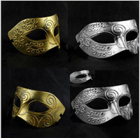 mask - Men s retro Greco Roman Gladiator masquerade masks Vintage Golden Silver Mask silver Carnival Mask Mens Halloween Costume Party Mask