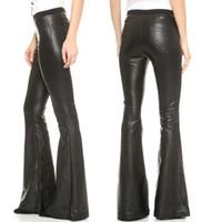 bell bottom pants - Winter Bell Bottom Woman Pants Black Faux Leather Clubwear Disco Hip Hop Flare Trousers Novelty Capris Plus Size Women Clothing