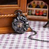 antique ship print - Fast New Men Women Retro Black Mechanical Chain Pendant Pocket Watch Flower Printed Case Chain Luxury Watch