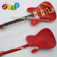 beautiful guitar pick - Beautiful TL guitar Electric Guitar F holes with Vibrato One PC Neck Flamed Maple Transparent Pick guard Gold Hardware