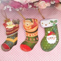 Wholesale High Quality pictures Sock Shaped Christmas Greeting Cards Wish Cards Messages Cards With Strings Christmas Trees Ornaments Decoration