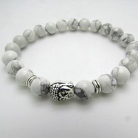 american girl products - Natural White Turquoise Stone Beaded Silver Buddha Bracelet New Products Mens and Womens Boys Girls Jewelry
