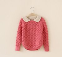 chain link fence - 40016845905 Kids girls doll collar long sleeved cotton solid color cashmere sweater Chain Link Fence pieces