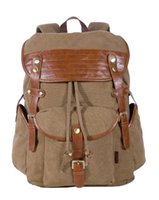 Wholesale New Men s Vintage Canvas Backpack Travel Rucksack Bag Leather Shoulder Messenger Bag