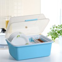 plastic basket - Kitchen shelf storage rack clamshell dishes tableware dish rack Drain green plastic basket with a lid