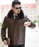 leather and fur garment - Fall Winter Men Leather Jacket And Coats Fashion Warm Fur Coat Brand Motorcycle Jackets Nick Garment Fox Fur Collar Liner Detachable