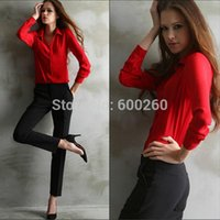 Cheap 2014 new arrival women ladies summer long sleeve blouse red blue yellow blusas femininas chiffon blouse with S M L XL XXL size