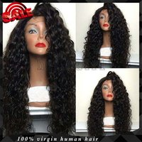 bank delivery - Lace Front Wigs Fast Delivery Afro Curly Human Hair Glueless Virgin Hair Kinky Curl Full Lace Wig