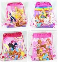 Wholesale NEW Cartoon Winx Club Drawstring Backpack Cute bag Popular Gift backpacks handbags children s school bags kids shopping bags present