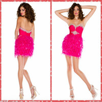 adorn plus size - Beauutiful Fuchsia Sheath Short Mini Homecoming Dresses Feather Adorned Short Min Girls Party Gowns Beaded Crystal Petite