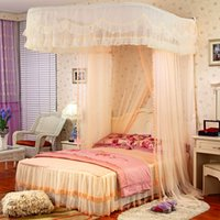 beautiful poetry - Victoria beautiful poetry Continental mosquito nets to strengthen U rail mounted pull screen wall hanging palace princess bed