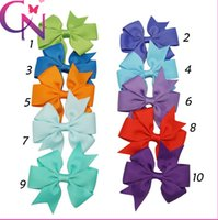 Wholesale Fashion inch Baby Girl Grosgrain Ribbon Hair Bows colors Children Hair Accessories Baby Hairbows Girl Hair Bows WITH CLIP