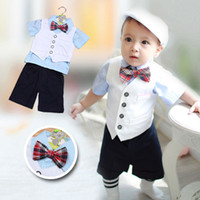 baby trend - boy lace in the summer the new trend of the boy s butterfly knot shirt package suit college wind Baby clothes