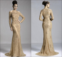 Wholesale Fashion Vestidos Gold Long Sleeve Evening Dress Merimaid Zuhair Murad Evening Dresses Jewel Floor Length Formal Party Prom Dresses