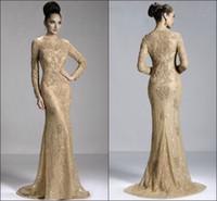 Cheap Gold Long Sleeve Evening Dress Best Merimaid Zuhair Murad Evening Dresses