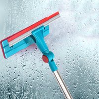 double glass window - New Arrival Glass Wiper Window Cleaner Glass Scraper Window Device Cleaning Brush Long Handle Double Side Brush Cleaner JG0019 Salebags